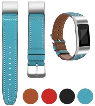 Fitbit iGK For Charge 2 Superior Genuine Leather Replacement Wrist Bands Metal Connectors (Blue)