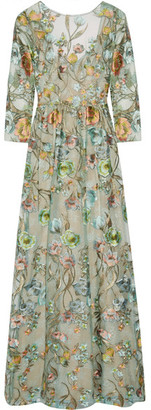 Marchesa Notte - Embroidered Tulle Gown - Mint $1,200 thestylecure.com