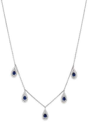 Bloomingdale's Blue Sapphire & Diamond Drop Necklace in 14K White Gold - 100% Exclusive