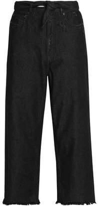 Zimmermann Divinity Cropped Distressed High-rise Straight-leg Jeans