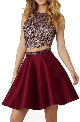 Pretygirl Women s Two Pieces Short Beaded Prom Homecoming Party Dresses for  Juniors (US 06fd2791b