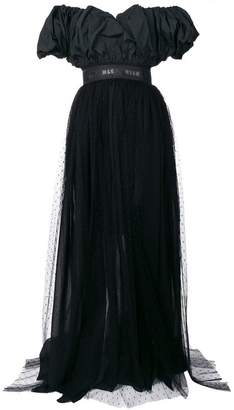 MSGM off shoulder gathered dress