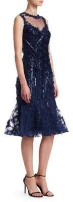 Teri Jon Embellished Knee-Length Dress