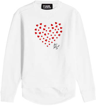 Karl Lagerfeld Love Embellished Cotton Sweatshirt