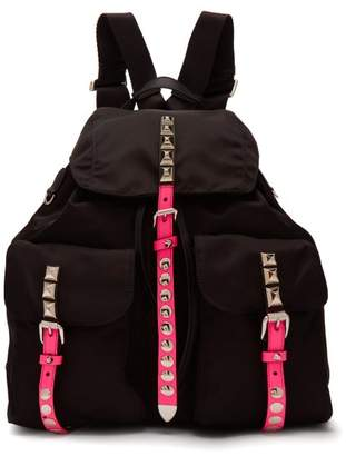 Prada New Vela Studded Nylon Backpack - Womens - Black Pink