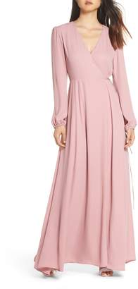 WAYF Lila Long Sleeve Wrap Gown
