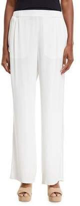 Go Silk Silk Crepe Easy Contrast-Trim Pants, Petite