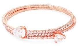 Saks Fifth Avenue Crystal and Sterling Silver Bangle Bracelet