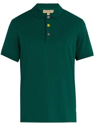 Burberry Multicoloured Button Cotton Polo Top - Mens - Green