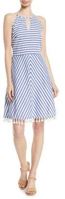 Letarte High-Neck Striped Cotton Halter Dress w/ Tassel Hem