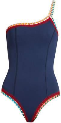 Kiini Tasmin crochet-trimmed one-shoulder swimsuit