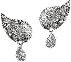 Alexis Bittar Swarovski Crystal Encrusted Paisley Button Clip Earrings