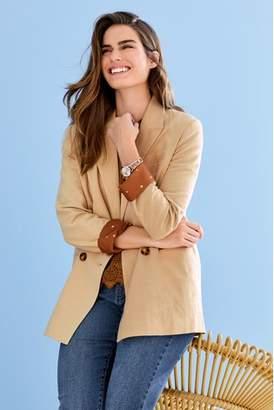 Next Womens Stone Linen Blend Blazer
