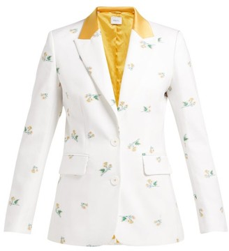 Racil George Floral Single Breasted Cotton Blend Blazer - Womens - White Multi