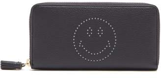 Anya Hindmarch Smiley zip-around leather continental wallet