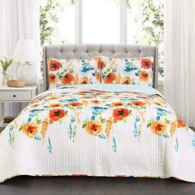 Lush Decor Percy Bloom Full/Queen Quilt Set in Tangerine