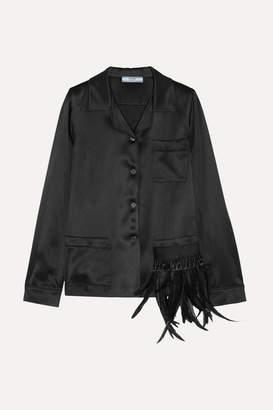 Prada Embellished Feather-trimmed Satin Shirt - Black