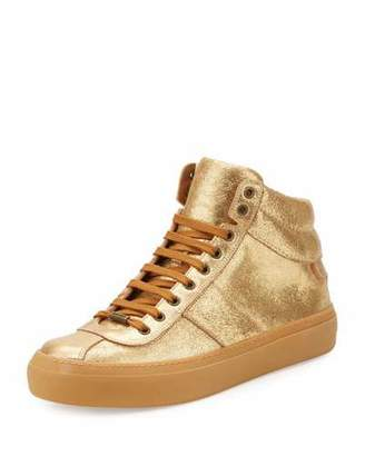 Jimmy Choo Men's Belgravia Metallic Leather High-Top Sneakers, Gold