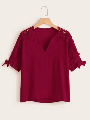 Shein Plus V-neck Knot Cuff Contrast Lace Blouse