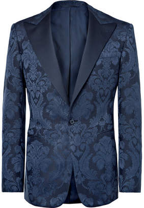 Ralph Lauren Purple Label Navy Gregory Slim-Fit Cotton And Silk-Blend Jacquard Tuxedo Jacket