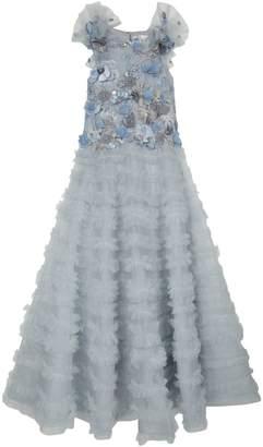 Mischka Aoki Floral Applique Ruffle Gown