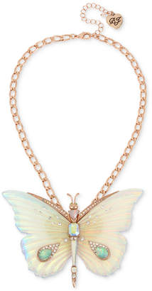 "Betsey Johnson Rose Gold-Tone Crystal & Stone Butterfly Pendant Necklace, 16"" + 3"" extender"