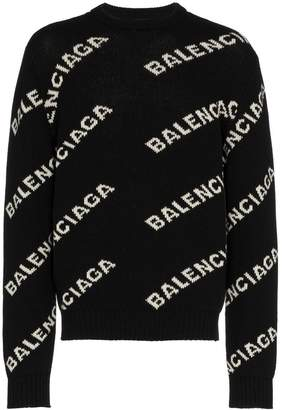 Balenciaga All over Logo crewneck jumper