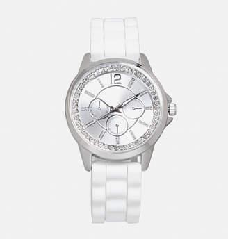 Avenue White Rubber Watch