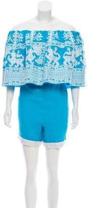 Yuliya Magdych Embroidered Linen Romper