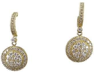 14K Yellow Gold 1 3/4ct Diamond Round Disc Earrings