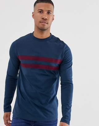 Asos Design DESIGN long sleeve t-shirt with contrast panels in navy