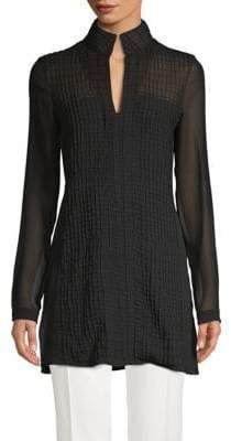 Akris Textured Longline Silk Blouse