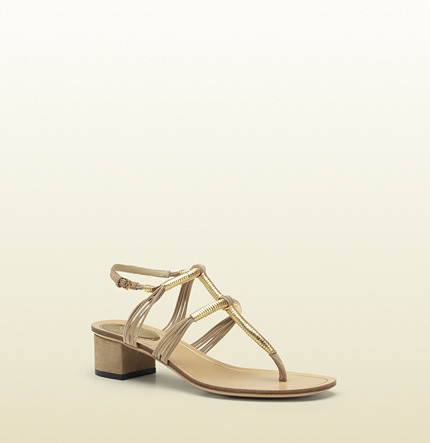 Gucci Anita Metallic Leather And Suede Low-Heel Thong Sandal
