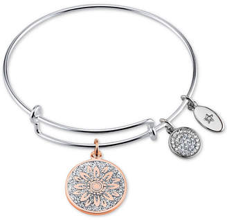 "Unwritten Two-Tone ""Life In Full Bloom"" Glitter Bangle Bracelet in Rose Gold-Tone & Stainless Steel"