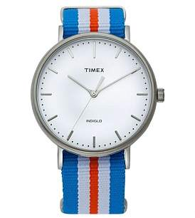 Timex W/Ender Fairfield 41Mm Full-Size Orange/Blu/Wht Nylonstrap