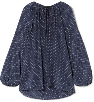 Lee Mathews - Queenie Polka-dot Silk Crepe De Chine Top - Midnight blue