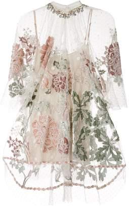 Biyan floral embroidered mesh top