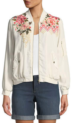 Johnny Was Parnaz Embroidered Silk Crepe de Chine Bomber Jacket