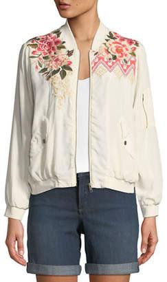 Johnny Was Parnaz Embroidered Silk Crepe de Chine Bomber Jacket