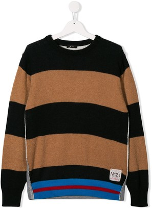 No.21 Kids TEEN contrast striped jumper