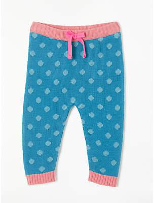 John Lewis Spot Knit Leggings, Blue/Pink