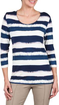 Haggar Striped Boat Neck Top