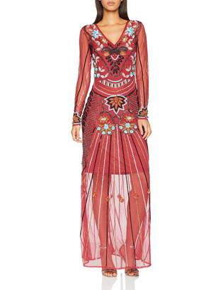 Frock and Frill Women's Embellished Maxi Dress Party (Persian Red Ff) 8