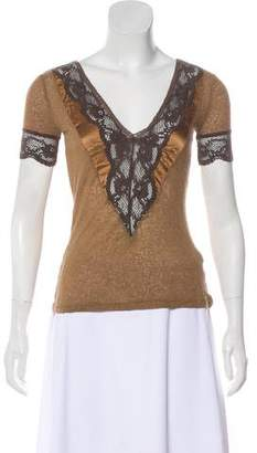 Dolce & Gabbana Lace-Trimmed Short Sleeve Top