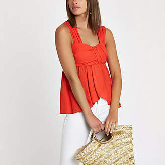 River Island Womens Red pleated cami top