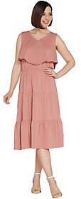 Denim & Co. Sleeveless V-Neck Tiered Dress withRuffle Detail