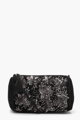 boohoo Anna Star Embellished Velvet Cross Body Bag