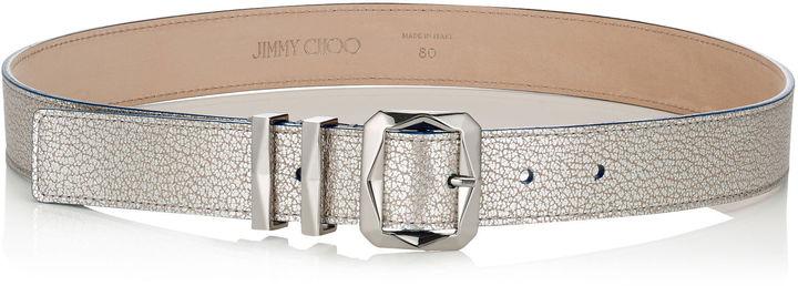 Jimmy ChooBLITZ Platinum Metallic Grainy Leather Belt