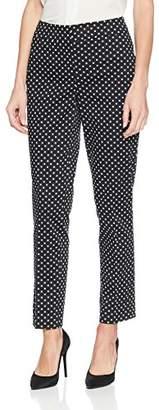 Nine West Women's Cotton Sateen Polka Dot Slim Pant