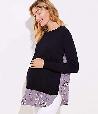Loft Maternity Lilac Garden Mixed Media Sweater